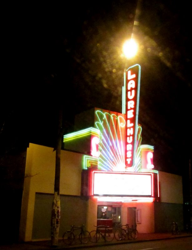 Laurelhurst Theater at night