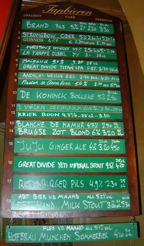 What's good today?: draught beer list of De Wildeman