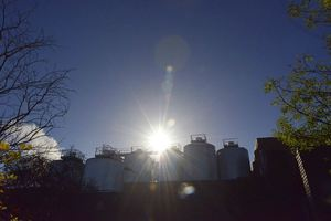 Sun-rise over Duvel-Moortgat Brewery