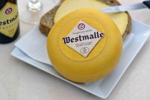 Westmalle Cheese, Whole & sliced on bread,  Beer bottle