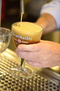 Westmalle Dubbel, On Tap, Pouring into Glass