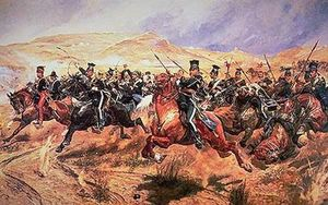 Allied cavalry charge during the Crimean War