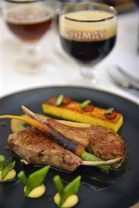Chimay Bleue (Blue Cap) paired with lamb