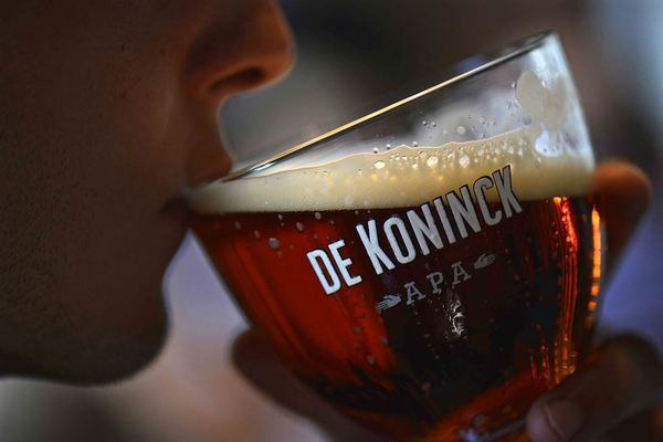Drinking a De Koninck APA after the brewery tour