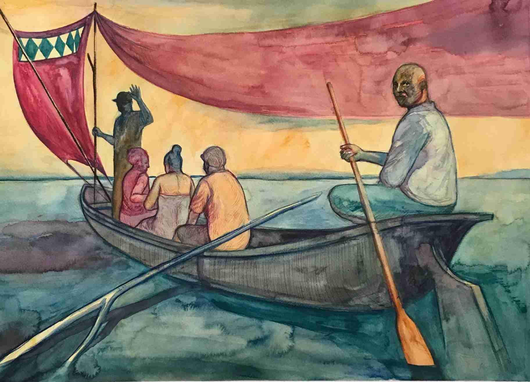 Obra: Expedition on Nokoué lake / Expedición en el lago Nokoué