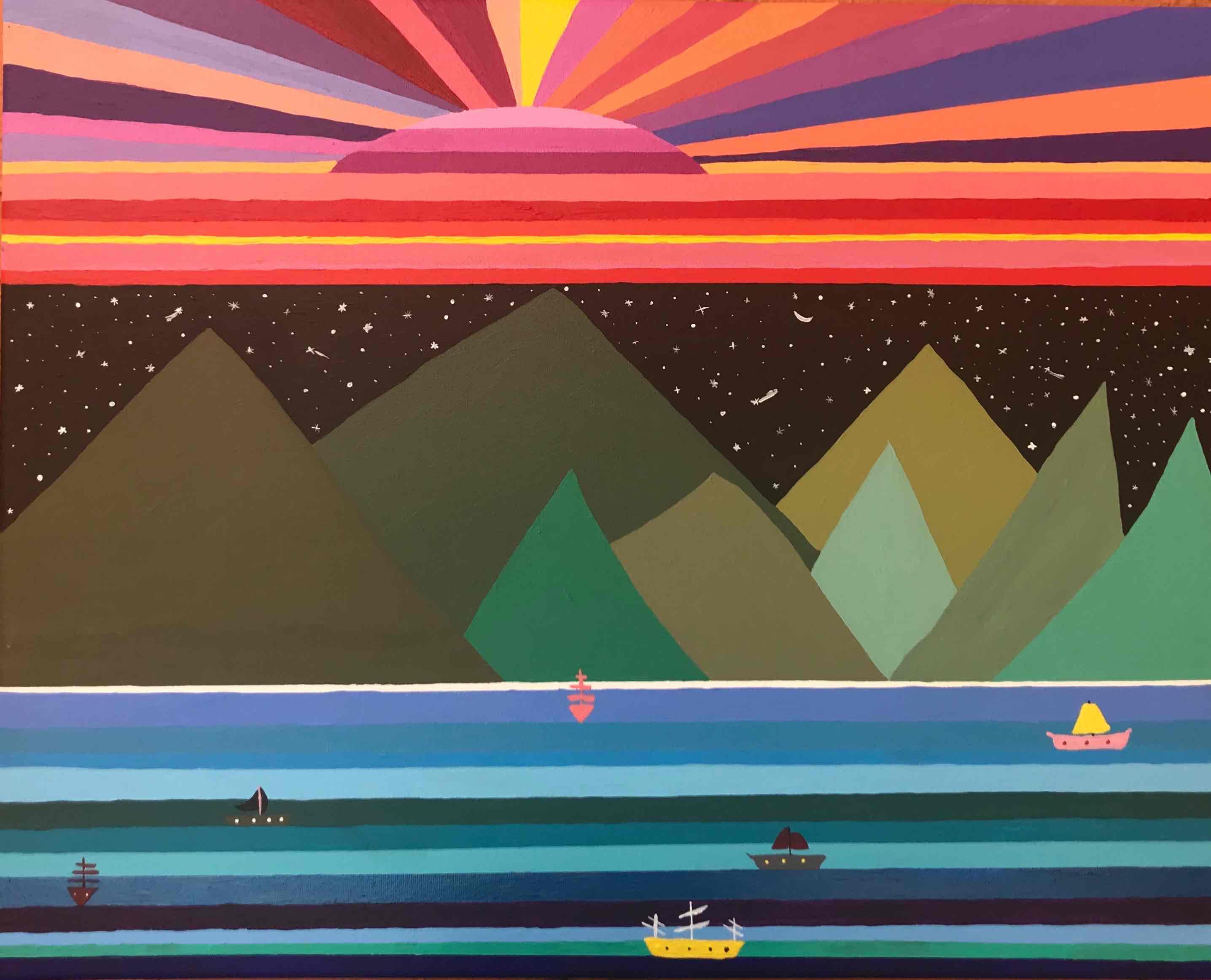 Obra: Montañas,la Nohe y el Atardecer.