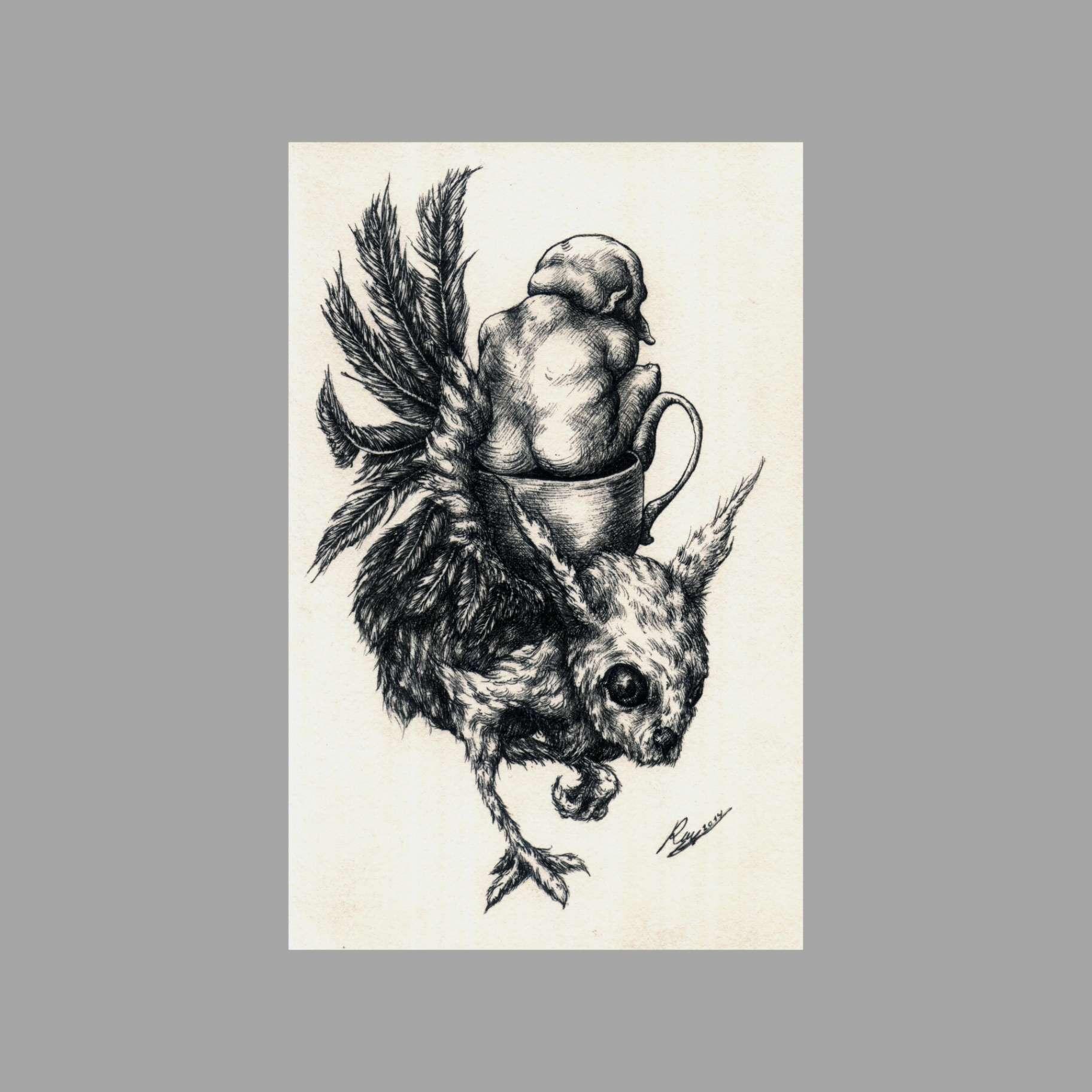 Obra: 2014 Meditando en Café (tinta sobre cartulina) (22x14cm)