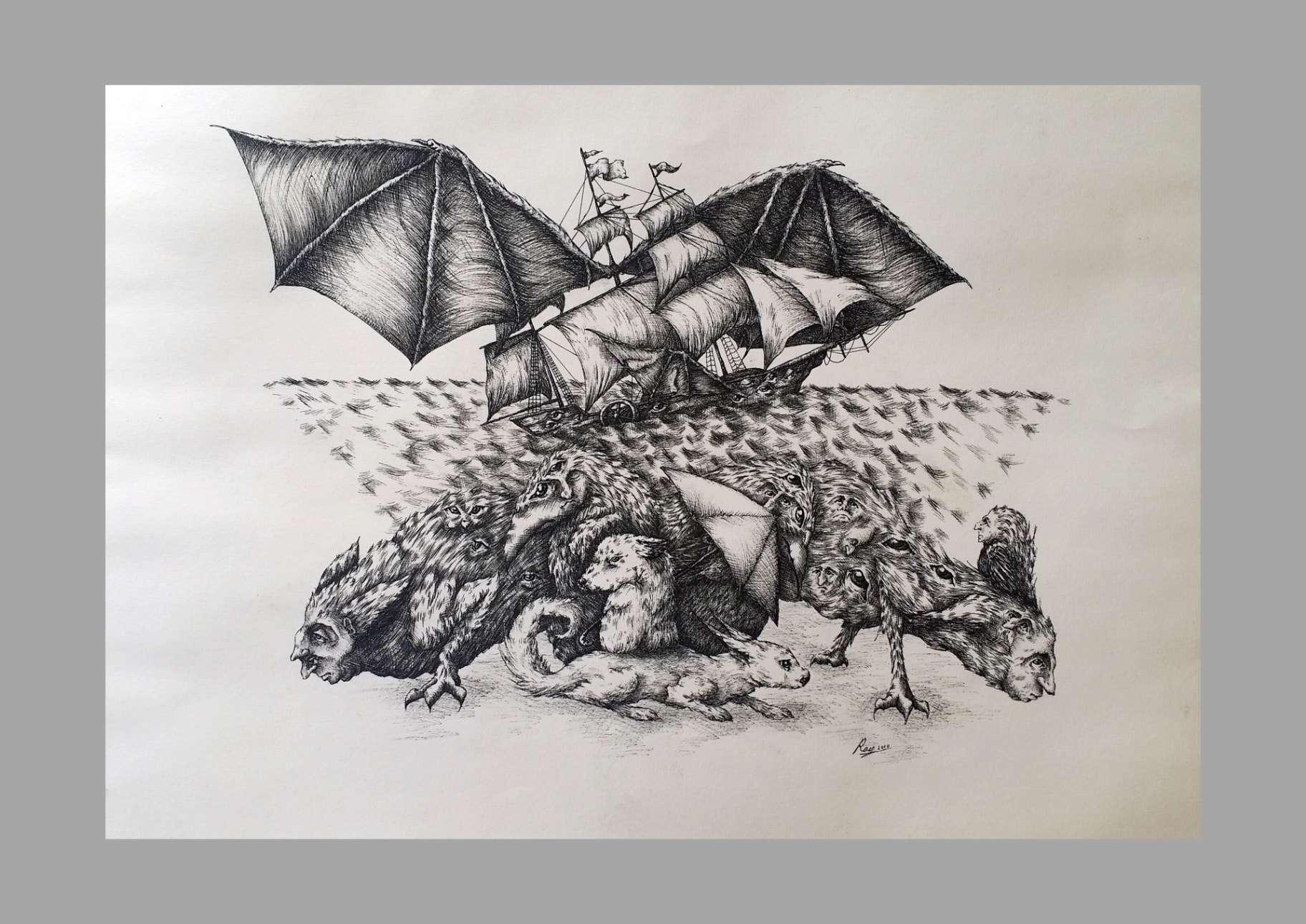 """Obra: """"Argos a Orillas del Armiño""""(46x32cm)"""