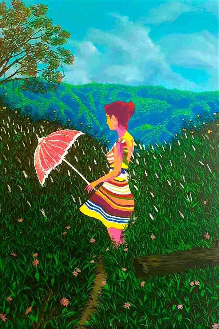 Obra: Mujer con sombrilla