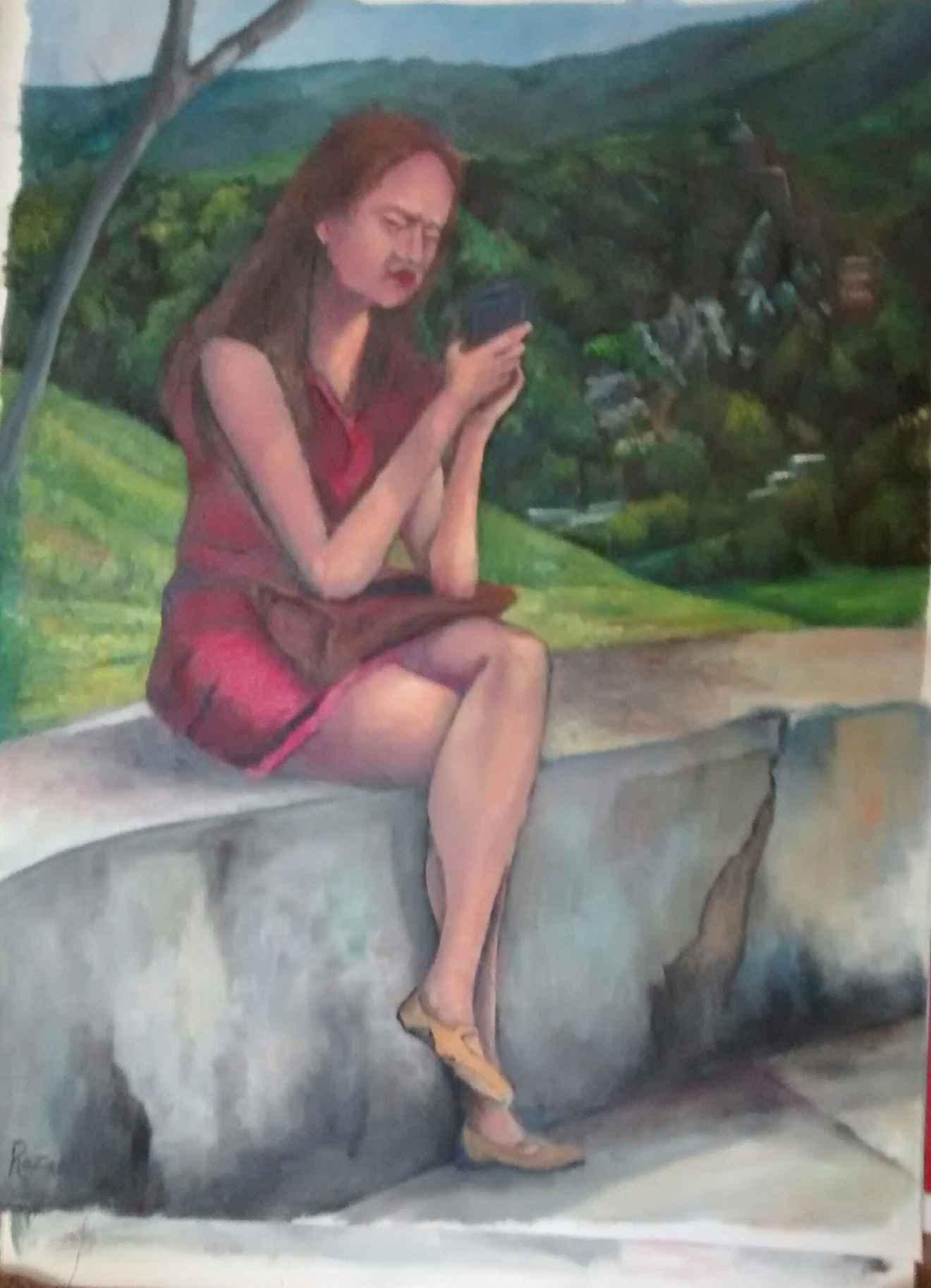 Obra: Joven leyendo mensaje