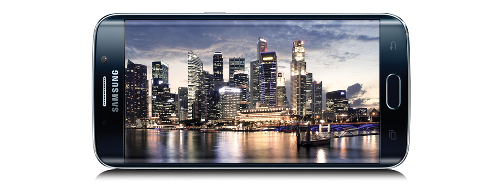 Samsung Galaxy S6 Smartphone with cityscape image