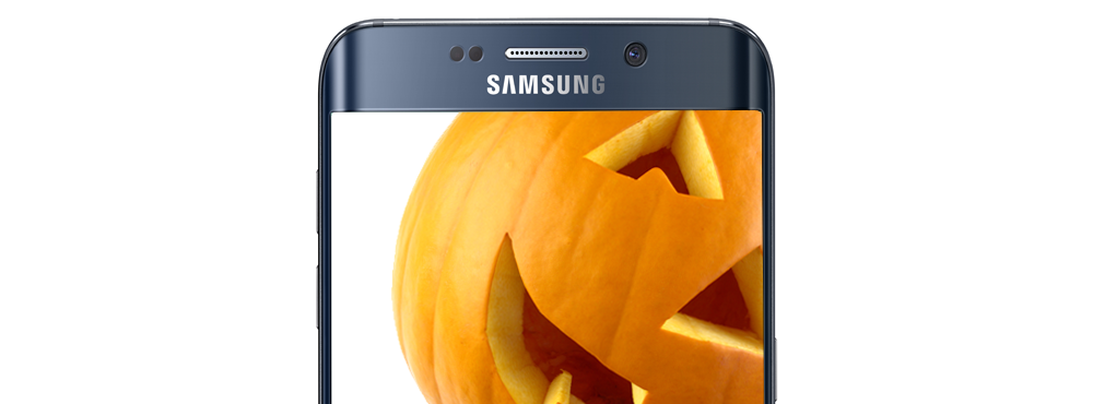 Smartphone with a pumpkin on the screen