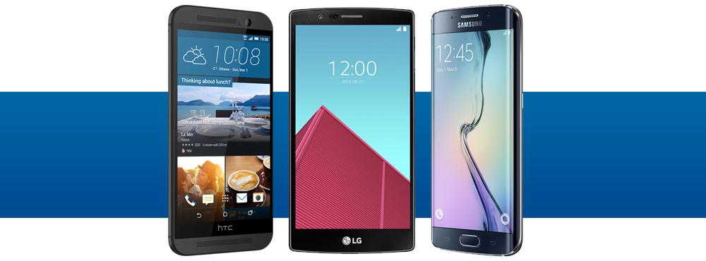 HTC M9, Samsung Galaxy S6 edge and LG G4