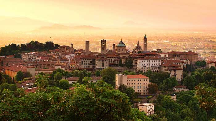 Sunrise at Bergamo Old Town