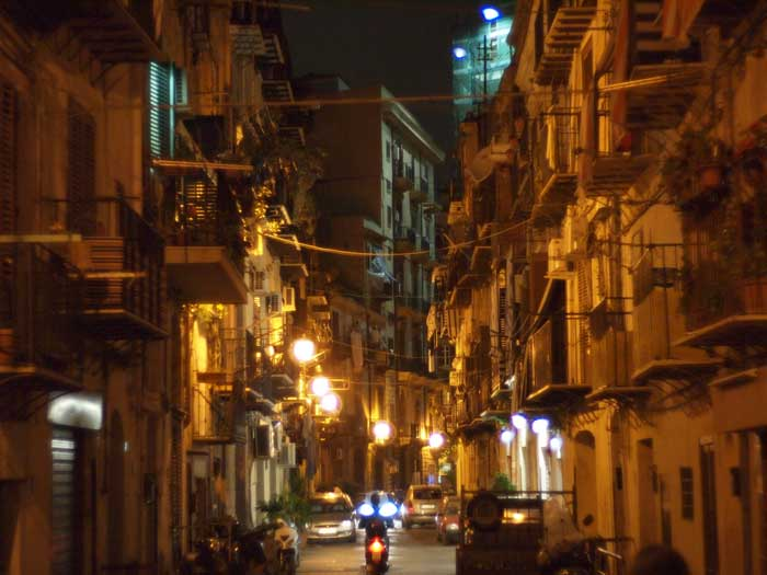 Palermo Street by Night, Guadagna, Sicily