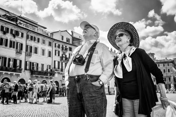 Happy Tourists in Piazza Navona, Rome, Italy