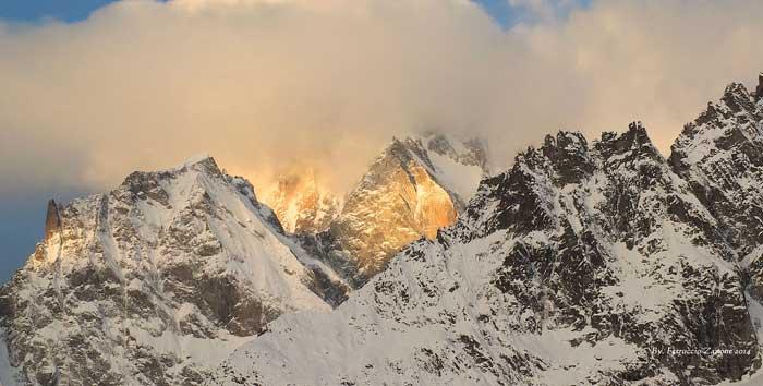 Dawn over Monte Bianco, Courmayeur, Aosta Valley