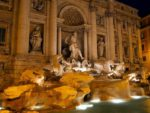 Trevi Roman fountain at Night, Italy