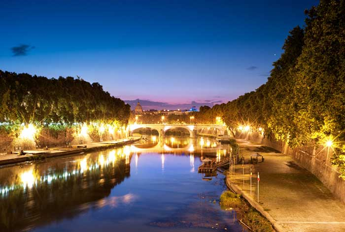 Night Atmosphere Along the Tiber, Trastevere, Rome