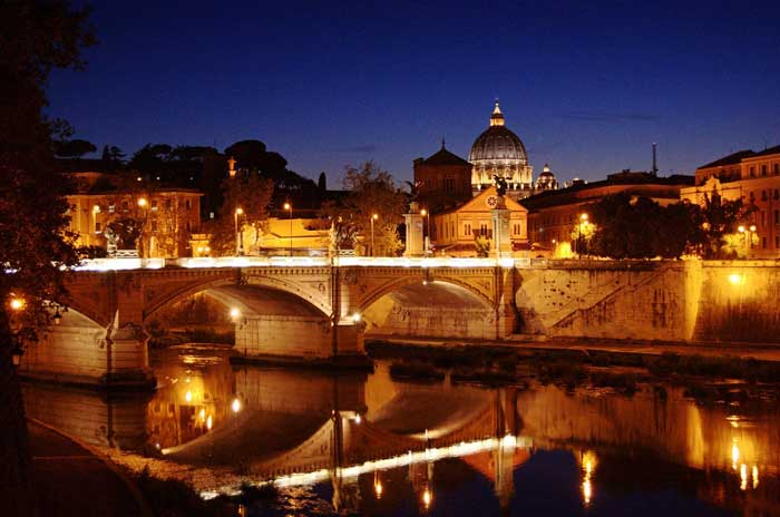 Ponte Vittorio Emanuele II by Night, Rome