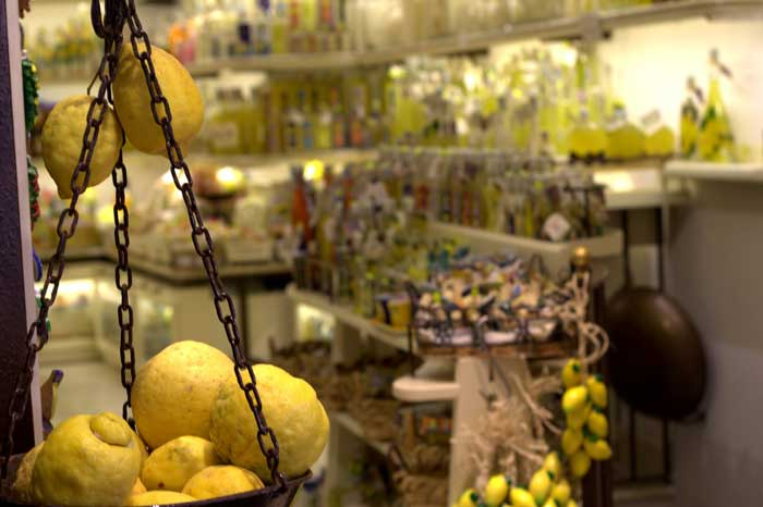 Typical  Limoncello Store in Amalfi Coast