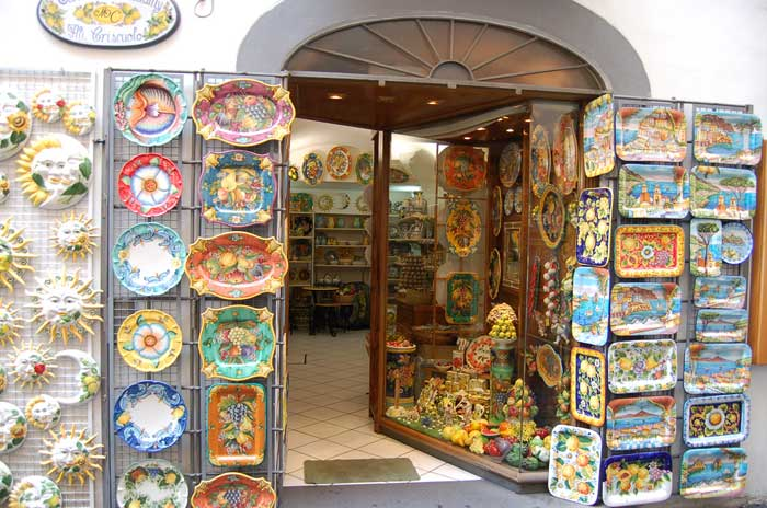Colorful Plates and Platters in Amalfi Store, Italy