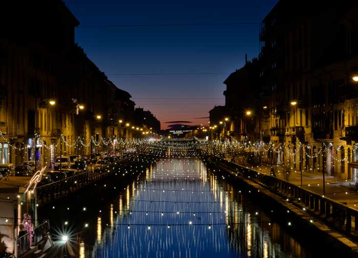 Nightlife in the Naviglio Grande Canal, Milan, Italy