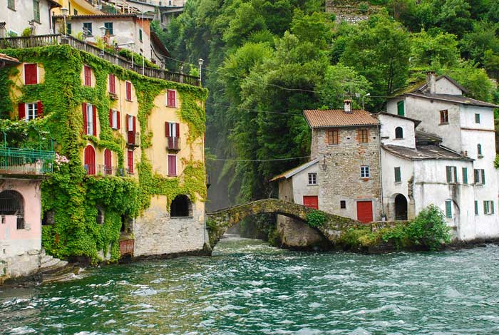 Quaint Houses on the Shores of Lake Como, Italy