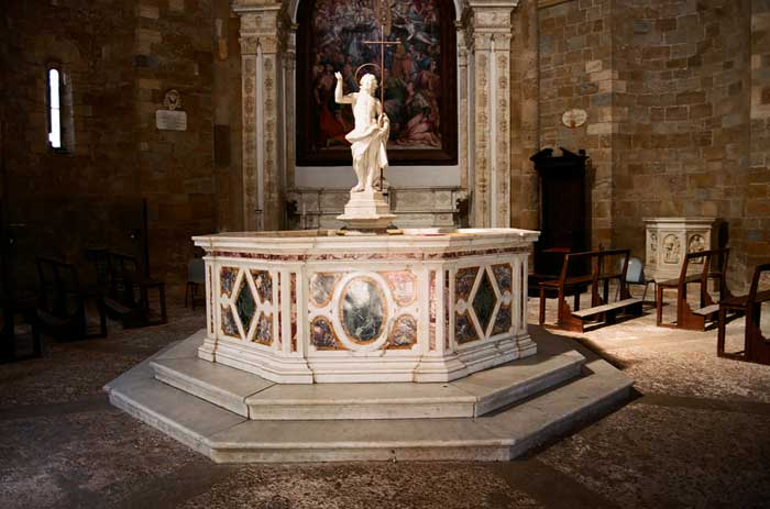 Interior of the Baptistery of Volterra, Italy