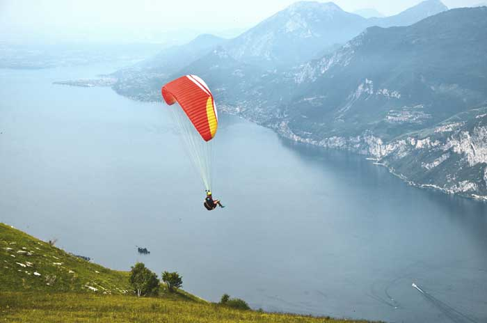 Paragliding over Lake Garda, Northern Italy