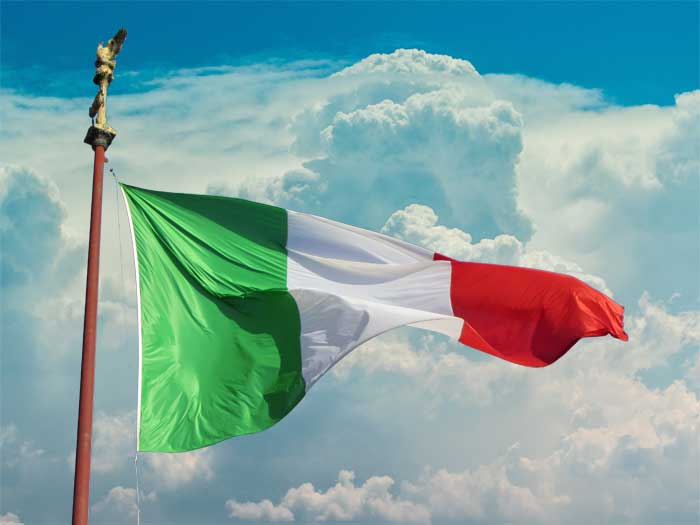 Fluttering Flag of Italy