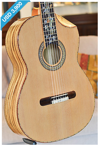 Bellucci Guitars - Zebrawood back and sides, Cedar top Concert Classical Guitar
