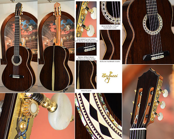 Bellucci Guitars - African Blackwood back and sides, African Rosewood top Concert Classical Guitar