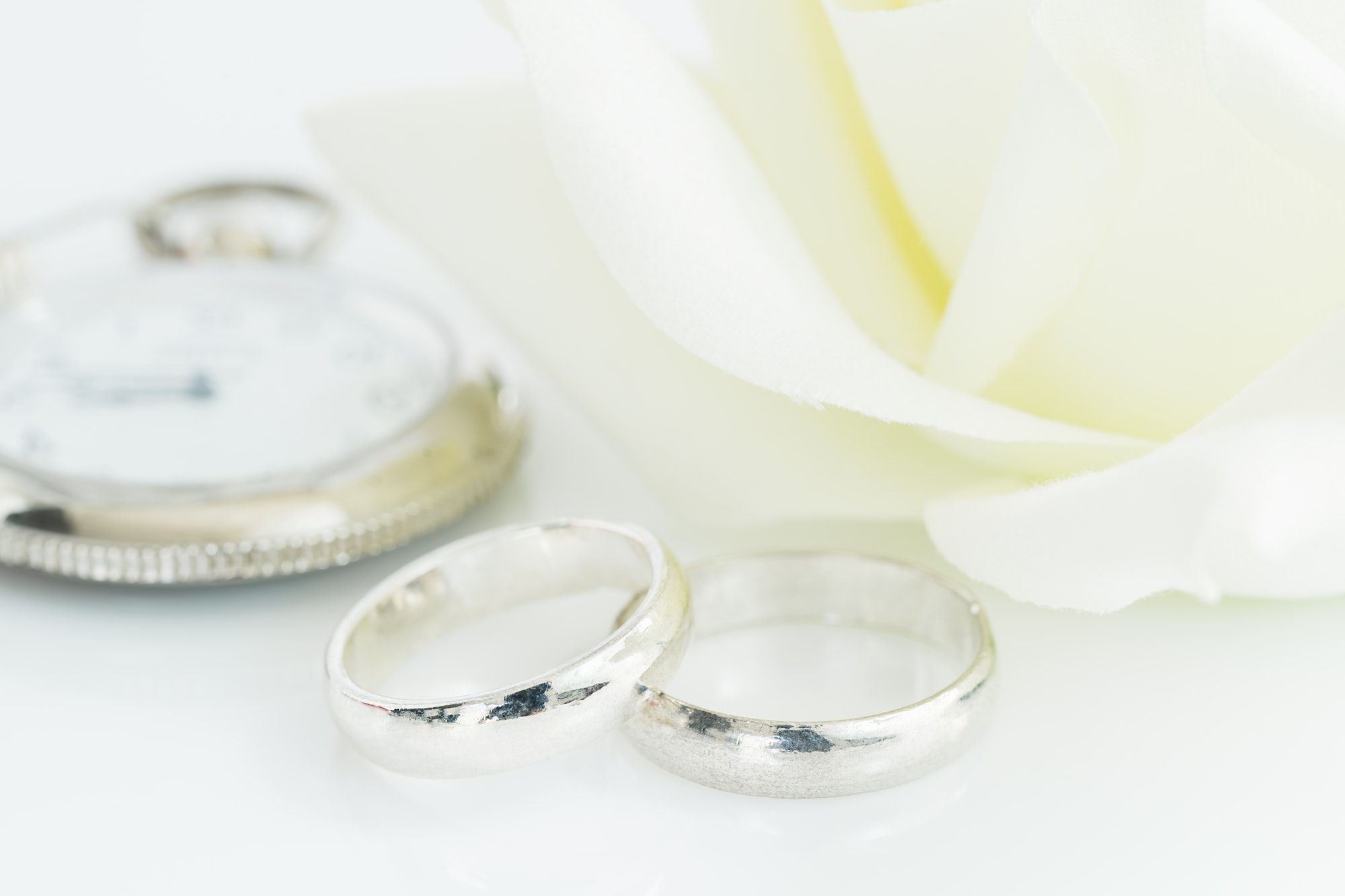 Wedding rings on white background-5