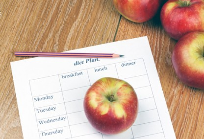 An apple next to a Mediterranean meal plan