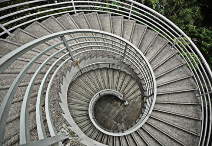 A photo of a spiral staircase illustrating vertigo