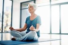 Older woman meditating