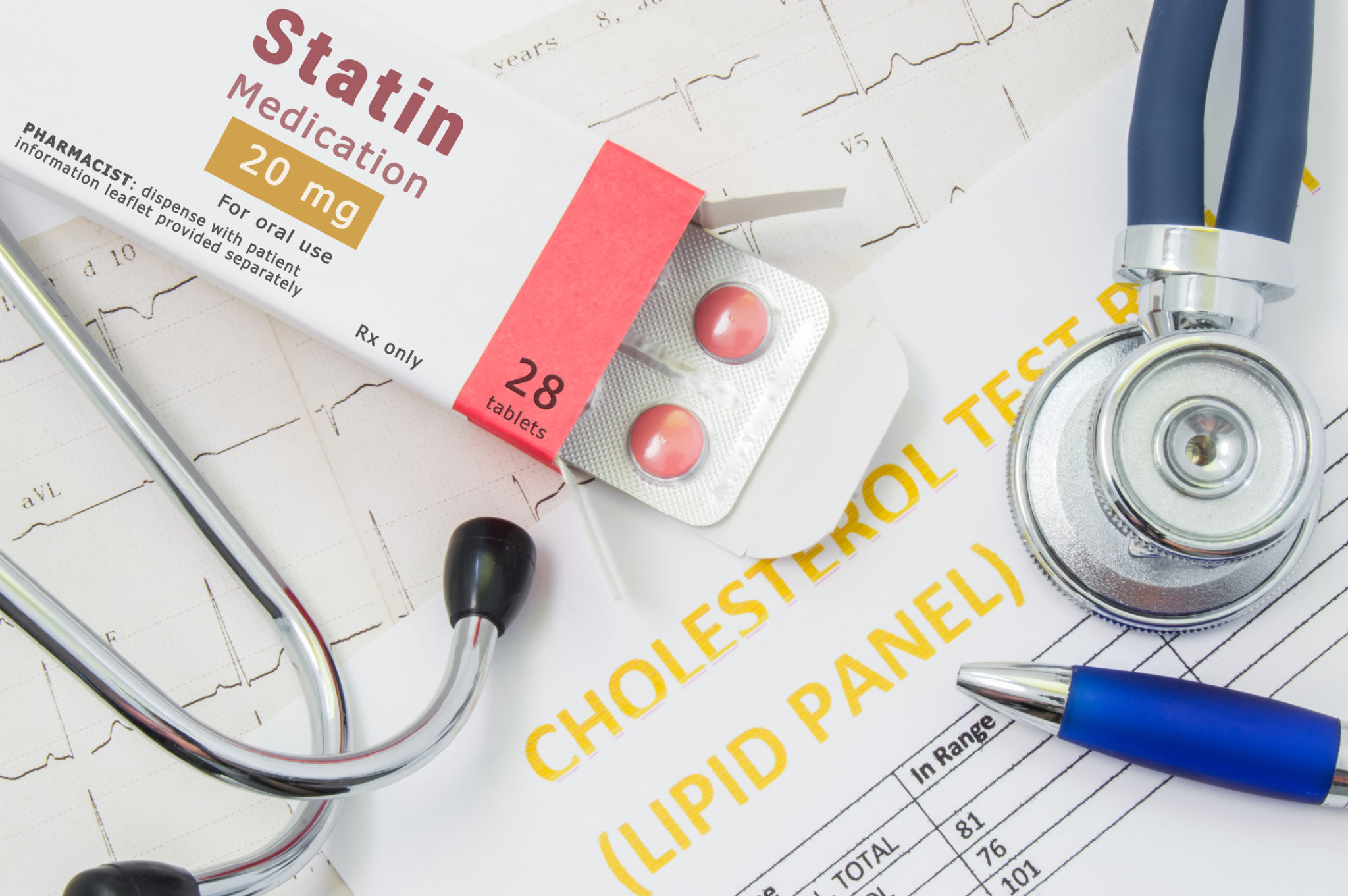 """Effects and treatment of statins concept photo. Open packaging with drugs tablets, on which is written """"Statin Medication"""", lies near stethoscope, result analysis on cholesterol (lipid panel) and ECG"""