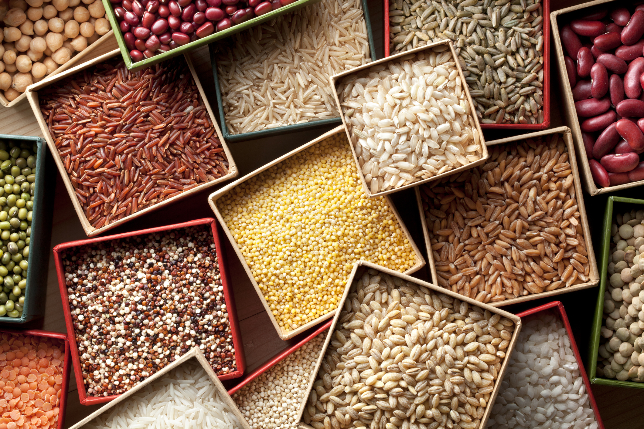 Varieties of grains seeds and beans
