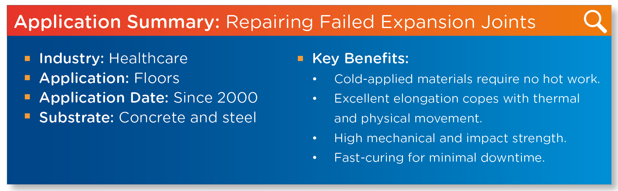 Expansion Joints Application Summary