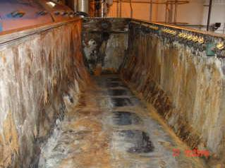Drum thickener damaged by corrosion