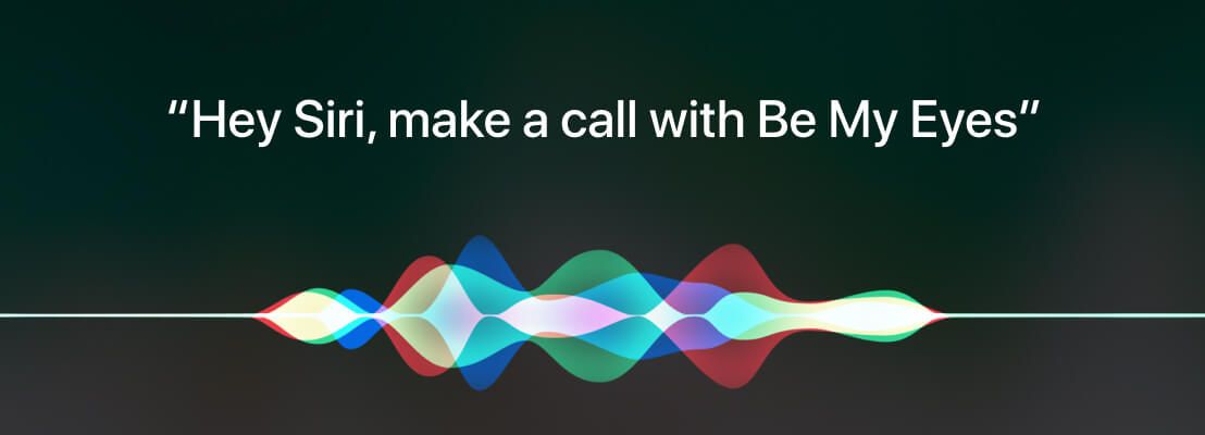 """An image of colored sound waves with the text """"Hey Siri, make a call with Be My Eyes"""" written above."""