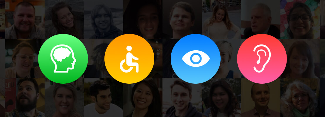 Illustration for the Global Accessibility Awareness Day with four icons depicting cognition, mobility, vision and hearing. Profile photos of Be My Eyes users in the background.