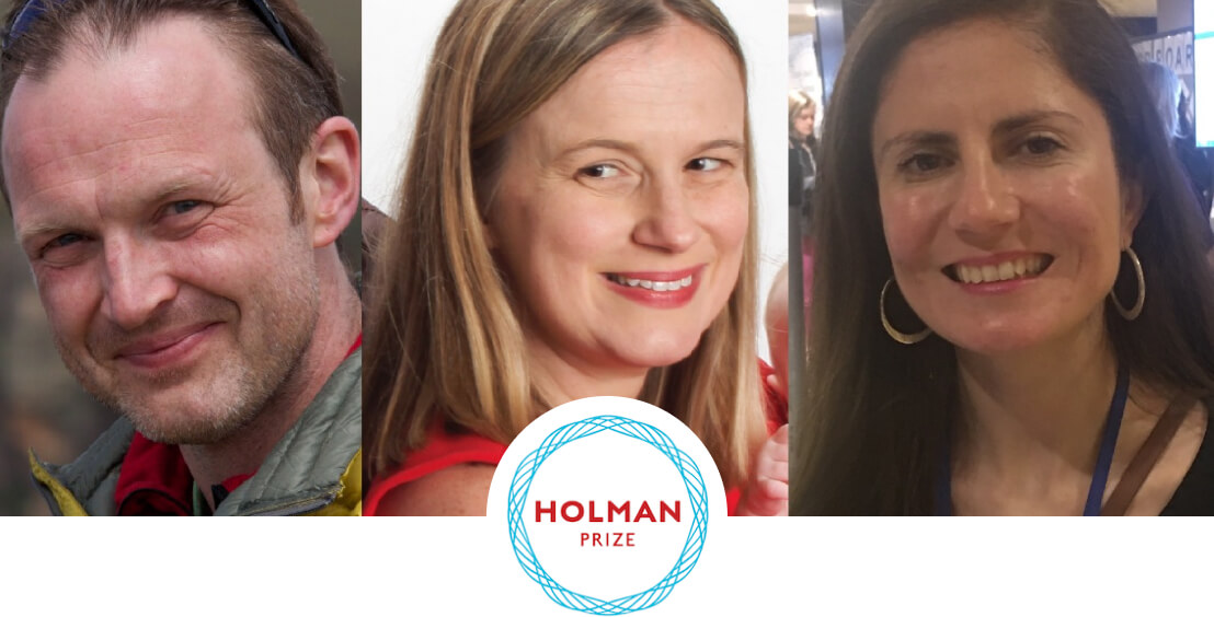 Three 2018 Holman Prize Winners are pictured smiling, from left to right: Red Szell, Stacy Cervenka, and Conchita Hernández.