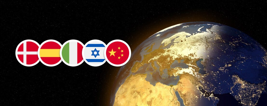 Image of a globe pictures together with flag icons of Denmark, Spain, China, Israel, and Italy.