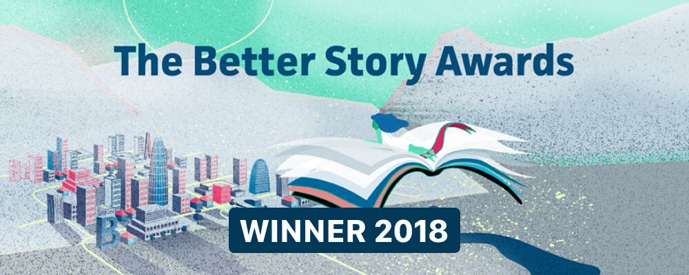 The Better Story Awards' animated logo picturing a woman lying on a human-sized book that is flying over a city.