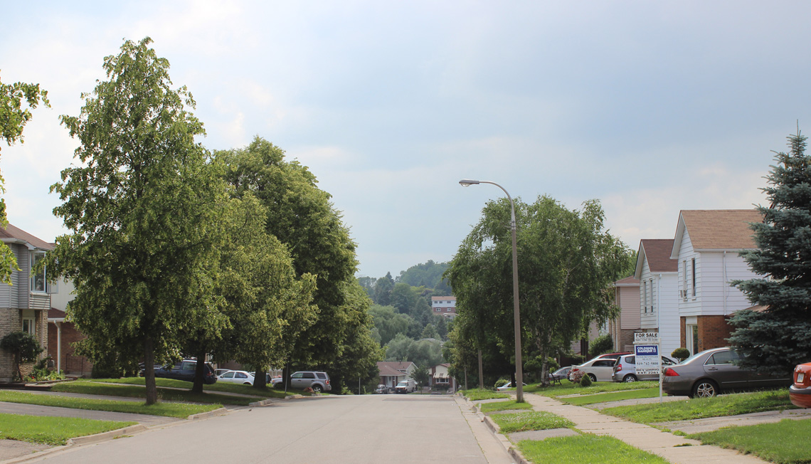 Residential areas of the neighbourhood include mature tree-lined streets with prototypical suburban, two-story homes and bungalows.