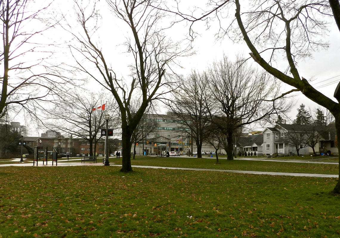 A view of University of Wilfred Laurier from Veterans' Green