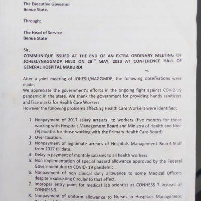 benue health workers strike
