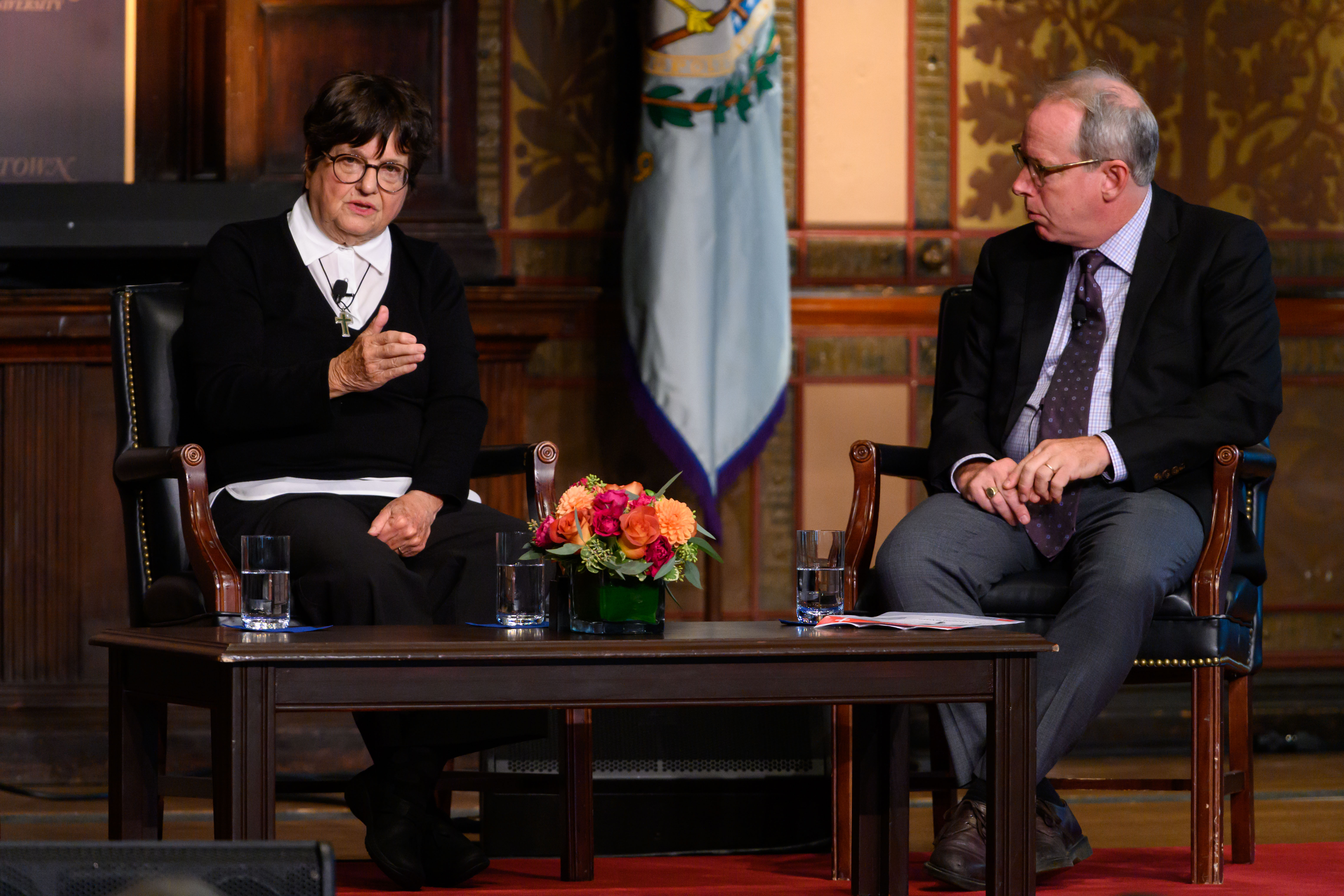 Sister Helen Prejean discusses her spiritual journey and advocacy against the death penalty.